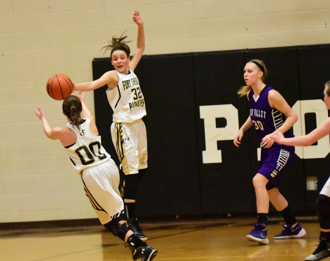 Fort Chiswell's Alexandria Rakes and Carlie Musick (00)  during play action at the end of the game