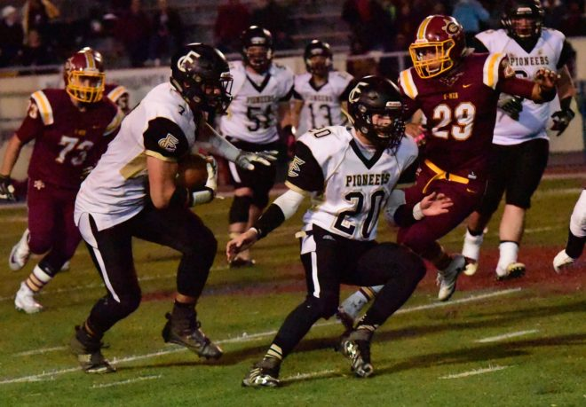 Colby Rider, ball carrier, and blocking is TJ James